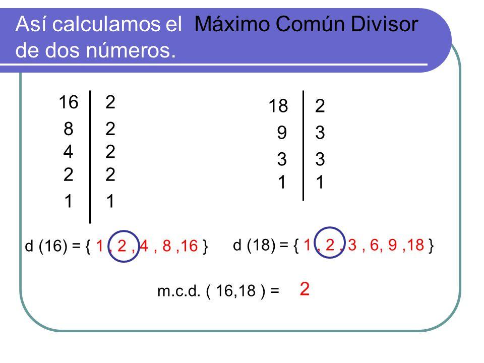 Así calculamos el Máximo Común Divisor de dos números. d (16) = { 1, 2, 4, 8,16 } 82 42 22 11 2 182 93 33 11 d (18) = { 1, 2, 3, 6, 9,18 } 16 m.c.d. (