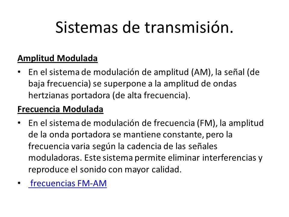 Sistemas de transmisión. Amplitud Modulada En el sistema de modulación de amplitud (AM), la señal (de baja frecuencia) se superpone a la amplitud de o