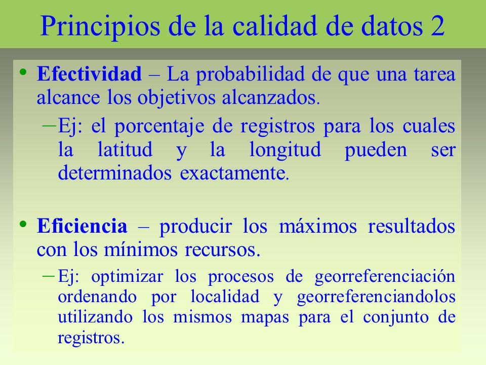 Principios de la calidad de datos 2 Efectividad – La probabilidad de que una tarea alcance los objetivos alcanzados. – Ej: el porcentaje de registros