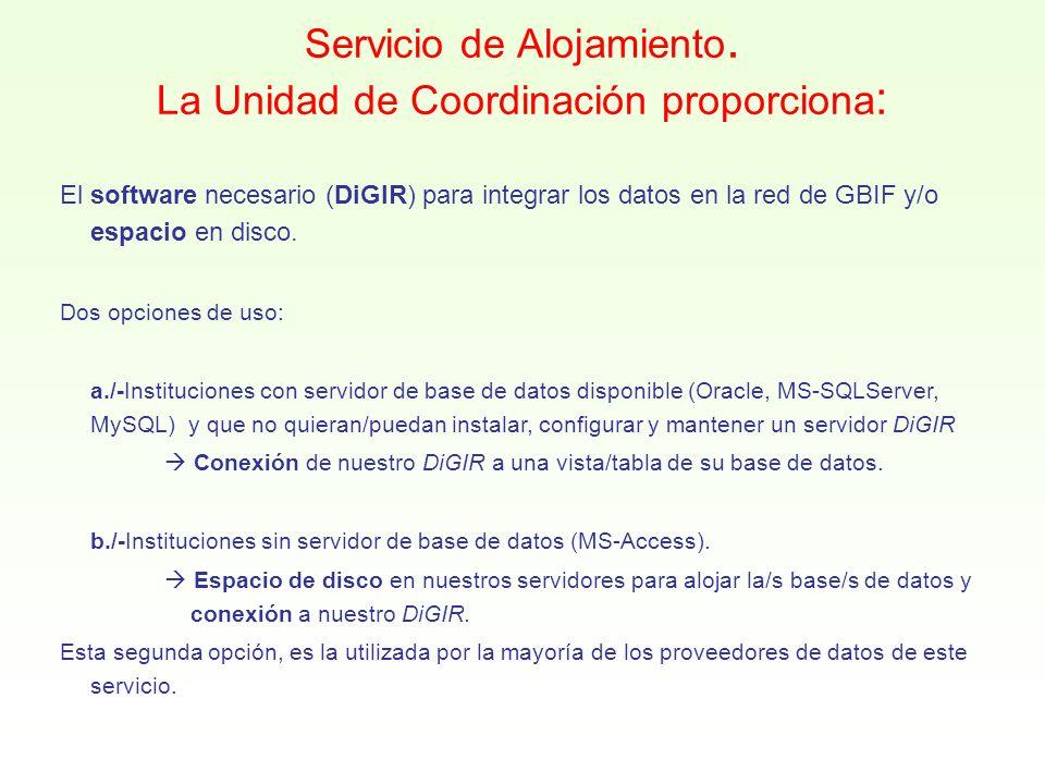 Servicio de Alojamiento. La Unidad de Coordinación proporciona : El software necesario (DiGIR) para integrar los datos en la red de GBIF y/o espacio e