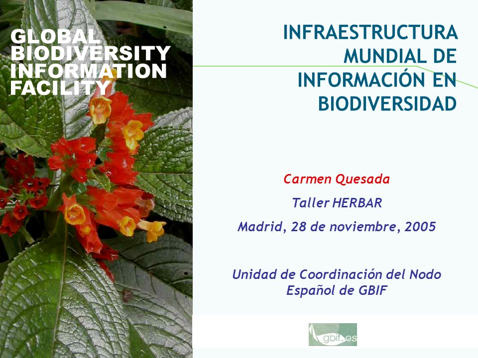 Global Biodiversity Information Facility GLOBAL BIODIVERSITY INFORMATION FACILITY Carmen Quesada Taller HERBAR Madrid, 28 de noviembre, 2005 Unidad de