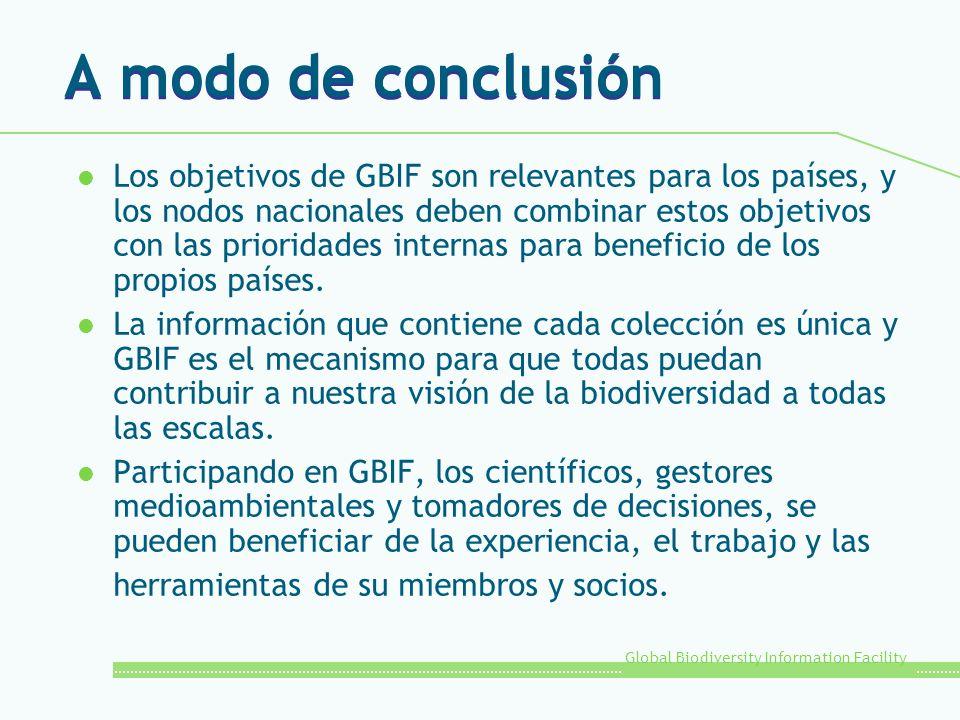 Global Biodiversity Information Facility A modo de conclusión l Los objetivos de GBIF son relevantes para los países, y los nodos nacionales deben combinar estos objetivos con las prioridades internas para beneficio de los propios países.