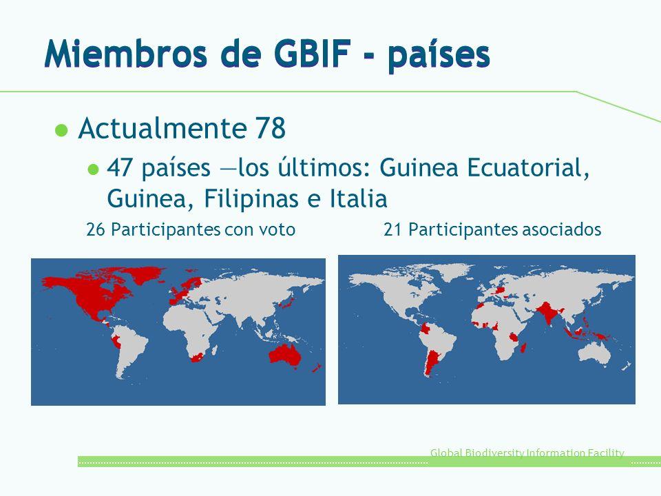 Global Biodiversity Information Facility Miembros de GBIF - países l Actualmente 78 l 47 países los últimos: Guinea Ecuatorial, Guinea, Filipinas e Italia 26 Participantes con voto21 Participantes asociados