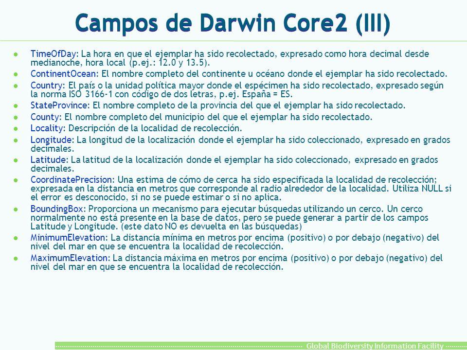 Global Biodiversity Information Facility Campos de Darwin Core2 (III) l TimeOfDay: La hora en que el ejemplar ha sido recolectado, expresado como hora decimal desde medianoche, hora local (p.ej.: 12.0 y 13.5).