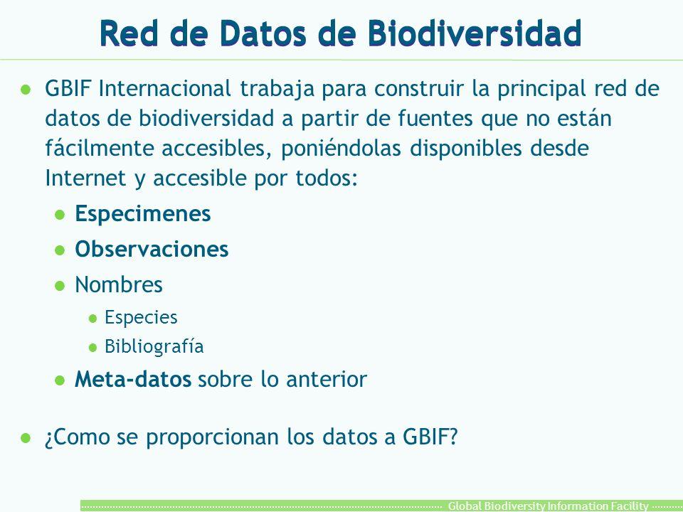 Global Biodiversity Information Facility Red de Datos de Biodiversidad l GBIF Internacional trabaja para construir la principal red de datos de biodiversidad a partir de fuentes que no están fácilmente accesibles, poniéndolas disponibles desde Internet y accesible por todos: l Especimenes l Observaciones l Nombres l Especies l Bibliografía l Meta-datos sobre lo anterior l ¿Como se proporcionan los datos a GBIF