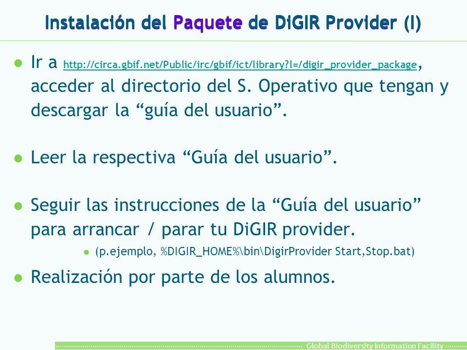 Global Biodiversity Information Facility Instalación del Paquete de DiGIR Provider (I) l Ir a http://circa.gbif.net/Public/irc/gbif/ict/library?l=/digir_provider_package, acceder al directorio del S.