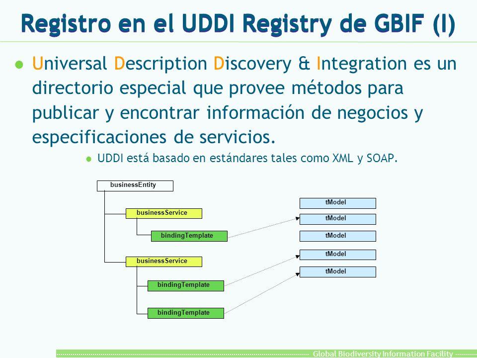 Global Biodiversity Information Facility Registro en el UDDI Registry de GBIF (I) l Universal Description Discovery & Integration es un directorio especial que provee métodos para publicar y encontrar información de negocios y especificaciones de servicios.