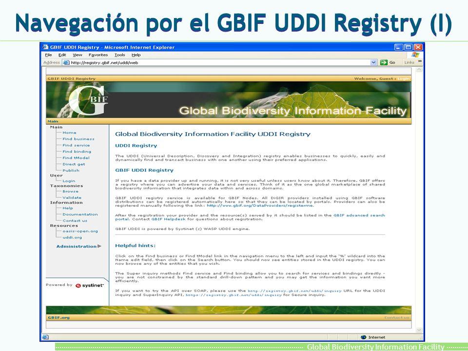 Global Biodiversity Information Facility Navegación por el GBIF UDDI Registry (I)