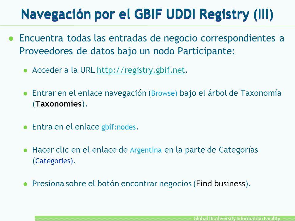 Global Biodiversity Information Facility Navegación por el GBIF UDDI Registry (III) l Encuentra todas las entradas de negocio correspondientes a Proveedores de datos bajo un nodo Participante: l Acceder a la URL http://registry.gbif.net.http://registry.gbif.net l Entrar en el enlace navegación ( Browse) bajo el árbol de Taxonomía (Taxonomies).