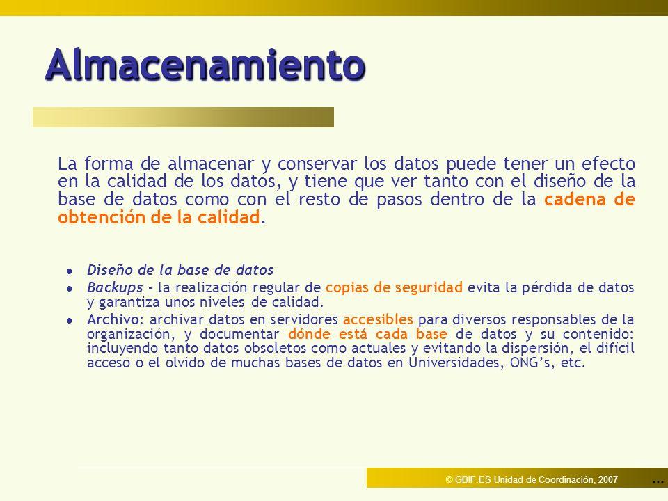 ... © GBIF.ES Unidad de Coordinación, 2007 AlmacenamientoAlmacenamiento La forma de almacenar y conservar los datos puede tener un efecto en la calida