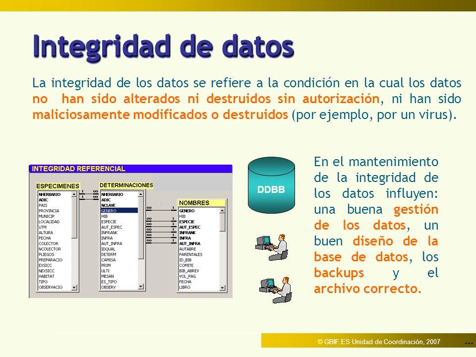 ... © GBIF.ES Unidad de Coordinación, 2007 Integridad de datos La integridad de los datos se refiere a la condición en la cual los datos no han sido a