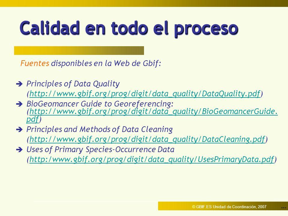 ... © GBIF.ES Unidad de Coordinación, 2007 Calidad en todo el proceso Fuentes disponibles en la Web de Gbif: è Principles of Data Quality (http://www.