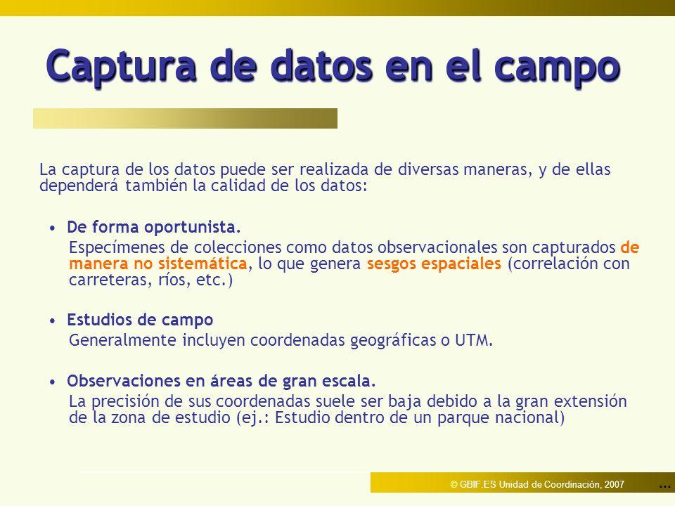 ... © GBIF.ES Unidad de Coordinación, 2007 Captura de datos en el campo La captura de los datos puede ser realizada de diversas maneras, y de ellas de