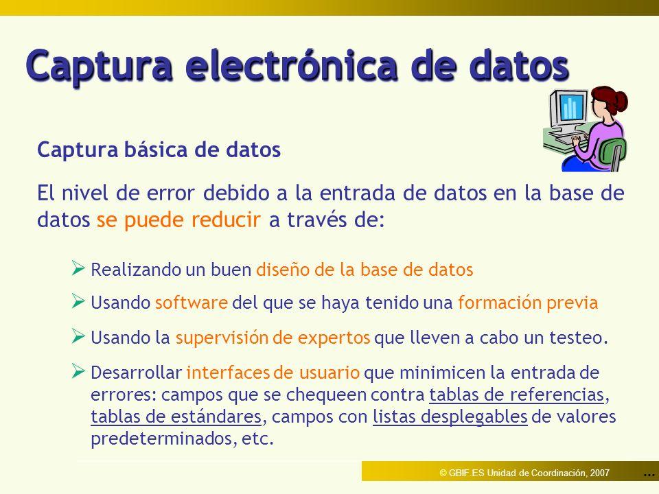 ... © GBIF.ES Unidad de Coordinación, 2007 Captura electrónica de datos Captura básica de datos El nivel de error debido a la entrada de datos en la b