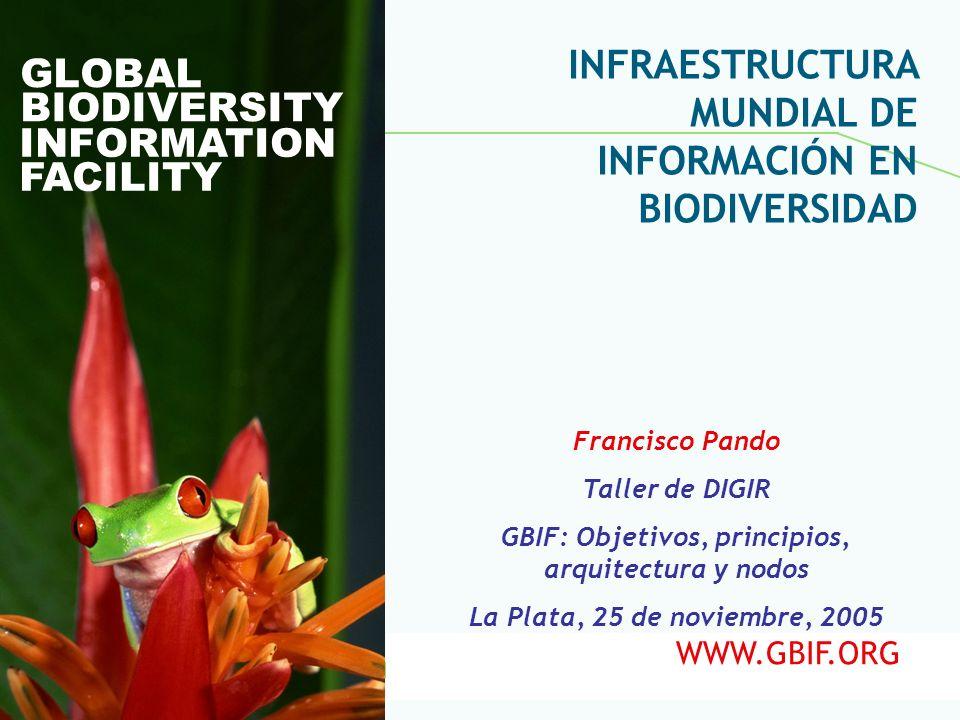 Global Biodiversity Information Facility GLOBAL BIODIVERSITY INFORMATION FACILITY Francisco Pando Taller de DIGIR GBIF: Objetivos, principios, arquite