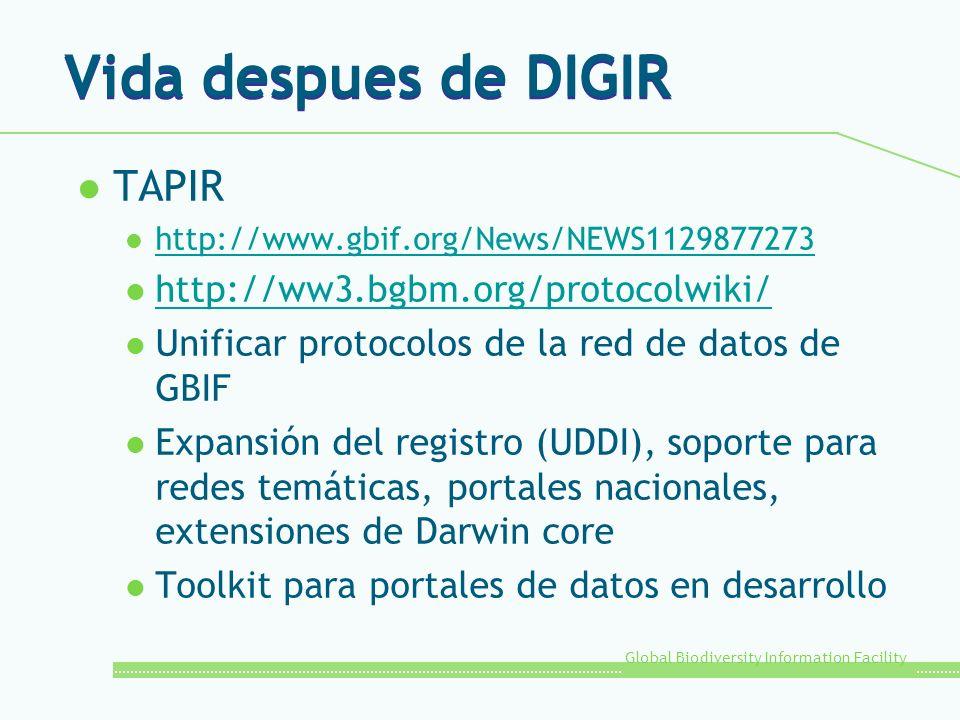 Global Biodiversity Information Facility Vida despues de DIGIR l TAPIR l http://www.gbif.org/News/NEWS1129877273 http://www.gbif.org/News/NEWS11298772