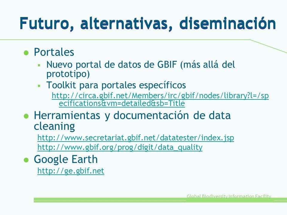 Global Biodiversity Information Facility Futuro, alternativas, diseminación l Portales Nuevo portal de datos de GBIF (más allá del prototipo) Toolkit