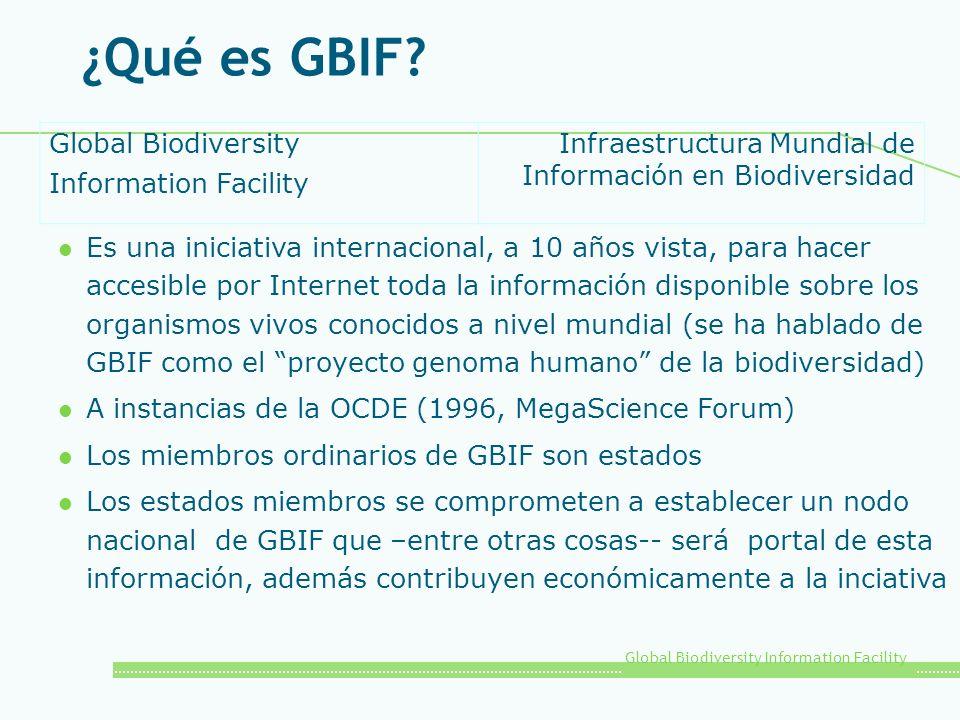 Global Biodiversity Information Facility ¿Qué es GBIF? l Es una iniciativa internacional, a 10 años vista, para hacer accesible por Internet toda la i