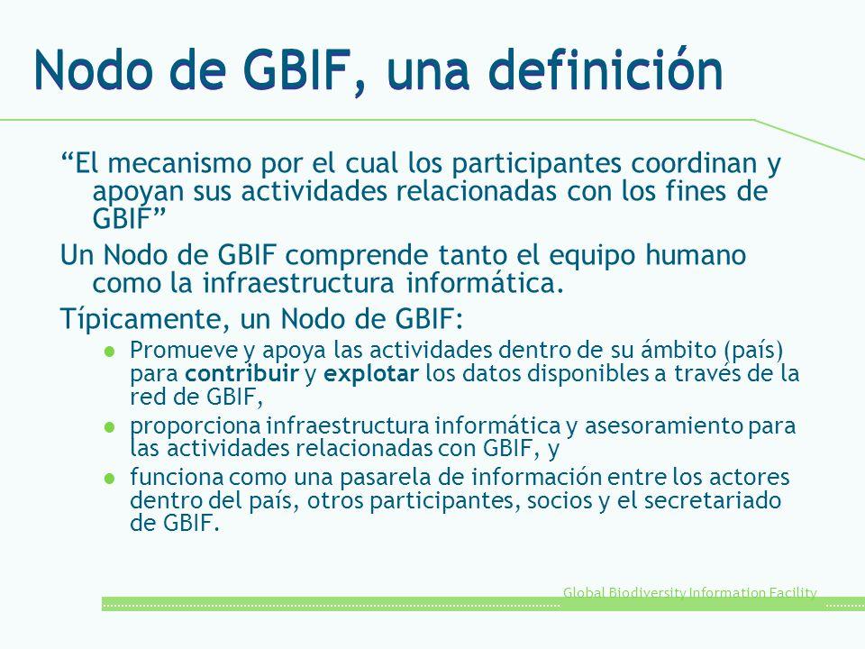 Global Biodiversity Information Facility Nodo de GBIF, una definición El mecanismo por el cual los participantes coordinan y apoyan sus actividades re