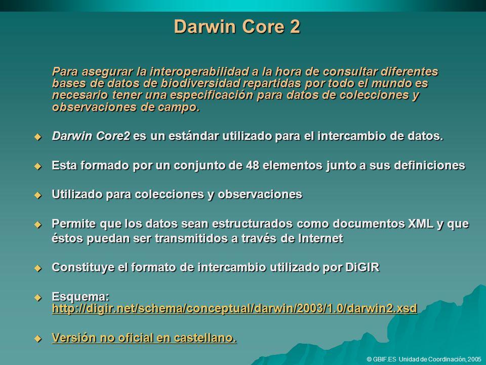 Darwin Core 2 Para asegurar la interoperabilidad a la hora de consultar diferentes bases de datos de biodiversidad repartidas por todo el mundo es necesario tener una especificación para datos de colecciones y observaciones de campo.