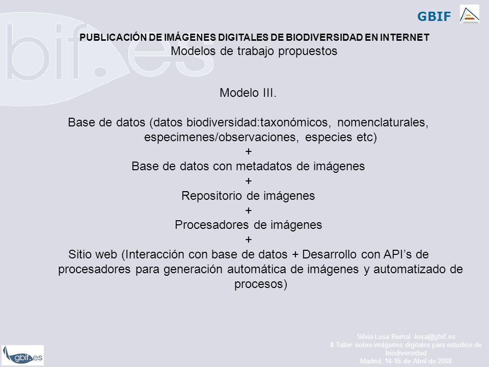 GBIF Silvia Lusa Bernal -lusa@gbif.es II Taller sobre imágenes digitales para estudios de biodiversidad Madrid, 14-16 de Abril de 2008 Modelo III.