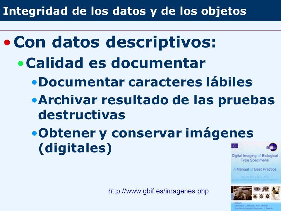 Integridad de los datos y de los objetos Con datos descriptivos: Calidad es documentar Documentar caracteres lábiles Archivar resultado de las pruebas destructivas Obtener y conservar imágenes (digitales) http://www.gbif.es/imagenes.php