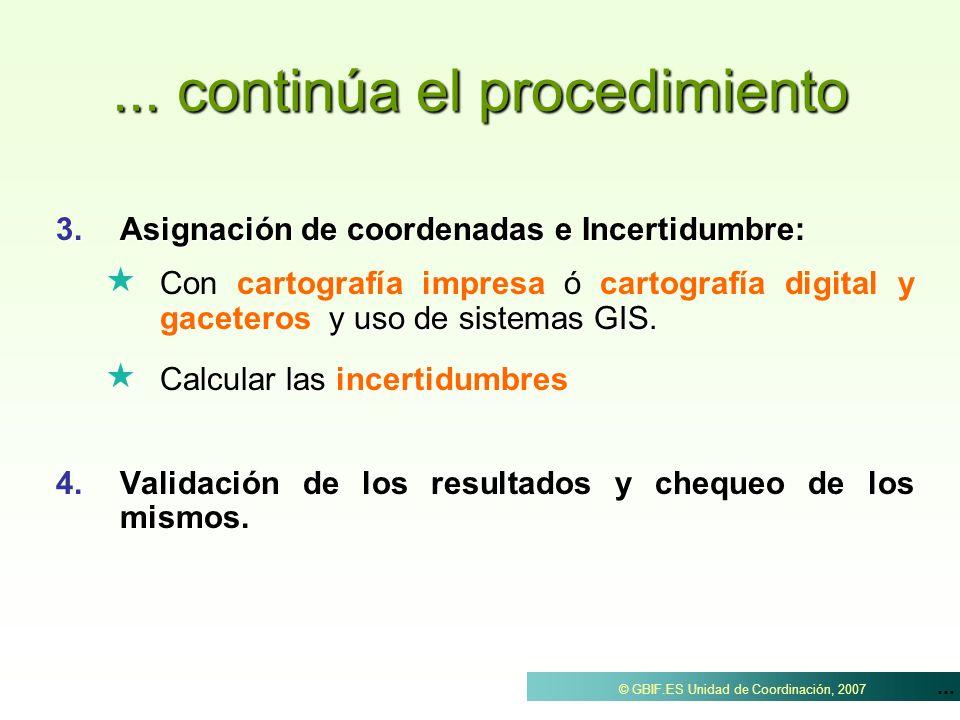 ... © GBIF.ES Unidad de Coordinación, 2007... continúa el procedimiento 3.Asignación de coordenadas e Incertidumbre: y uso de sistemas GIS. Con cartog