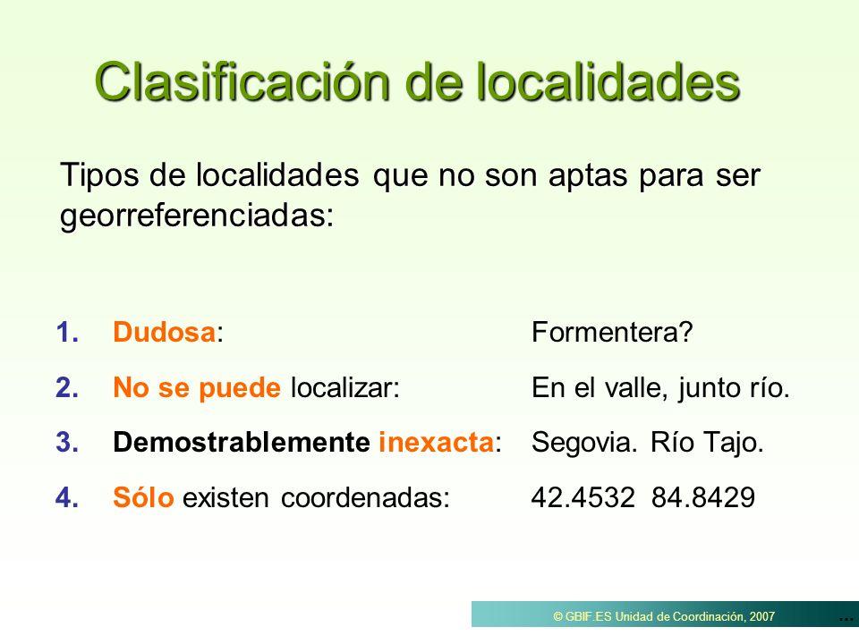 ... © GBIF.ES Unidad de Coordinación, 2007 Clasificación de localidades 1. 1.Dudosa: Formentera? 2. 2.No se puede localizar:En el valle, junto río. 3.