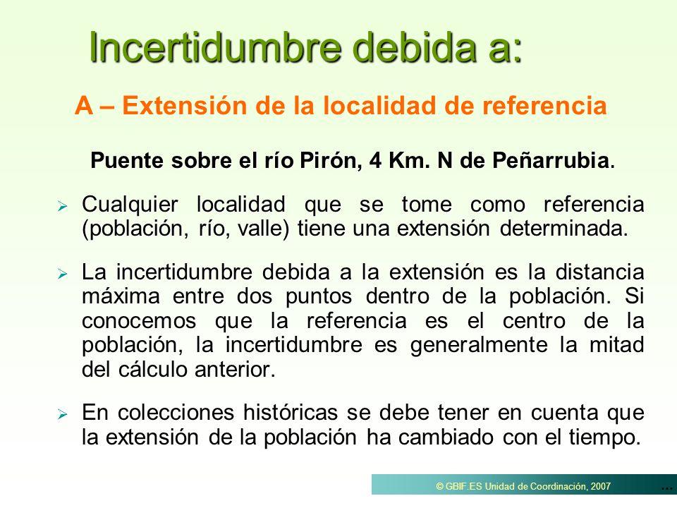 ... © GBIF.ES Unidad de Coordinación, 2007 Incertidumbre debida a: Puente sobre el río Pirón, 4 Km. N de Peñarrubia. Cualquier localidad que se tome c