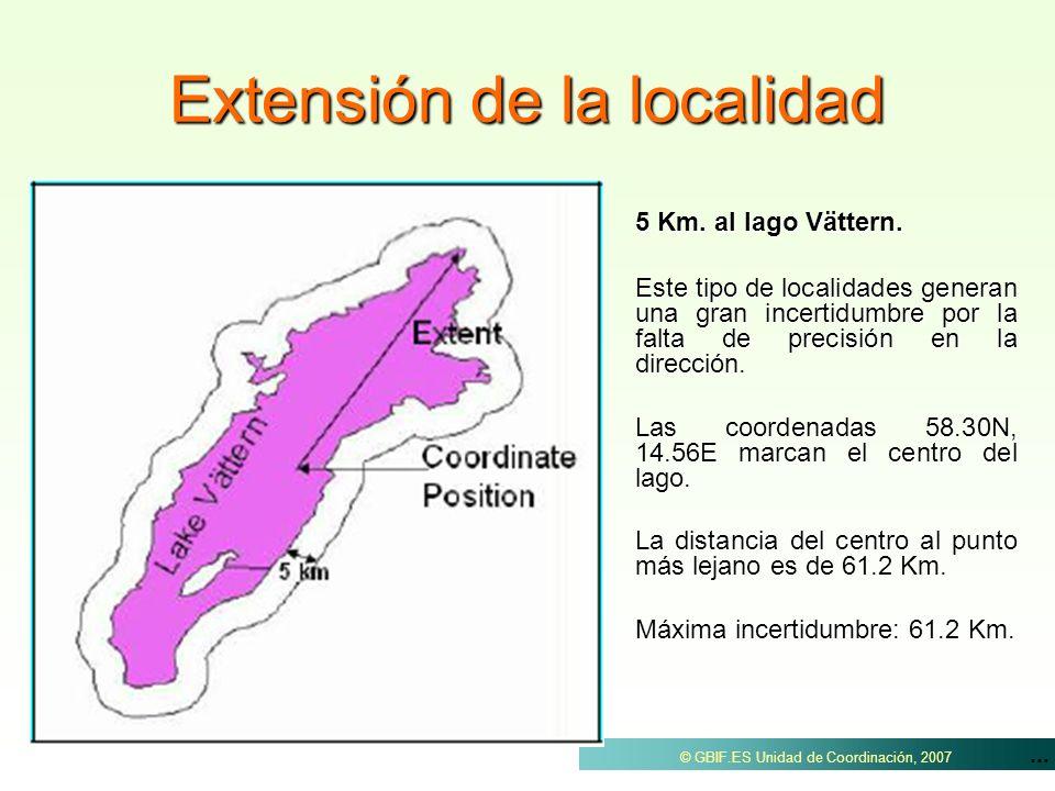 ... © GBIF.ES Unidad de Coordinación, 2007 Extensión de la localidad 5 Km. al lago Vättern. Este tipo de localidades generan una gran incertidumbre po