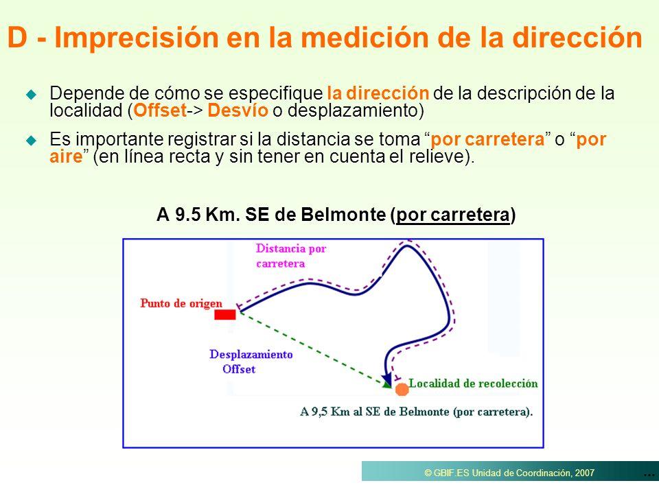 ... © GBIF.ES Unidad de Coordinación, 2007 Depende de cómo se especifique de la descripción de la localidad (-> o desplazamiento) Depende de cómo se e