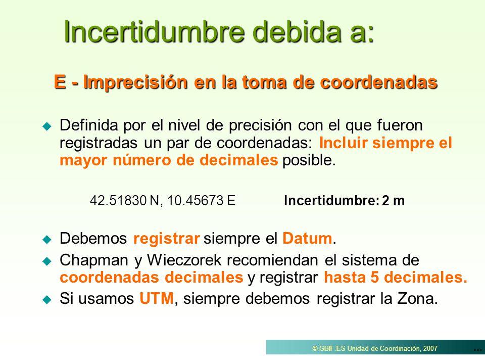 ... © GBIF.ES Unidad de Coordinación, 2007 E - Imprecisión en la toma de coordenadas Definida por el nivel de precisión con el que fueron registradas