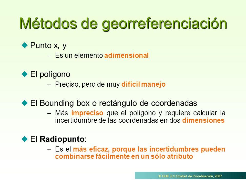 ... © GBIF.ES Unidad de Coordinación, 2007 Métodos de georreferenciación Punto x, y – –Es un elemento adimensional El polígono – –Preciso, pero de muy