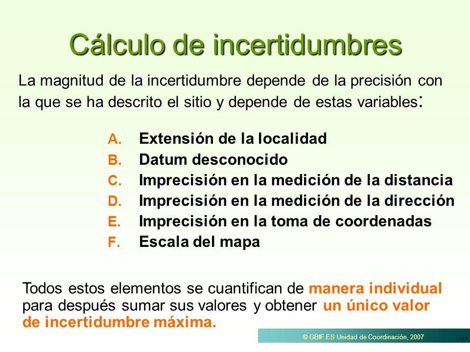 ... © GBIF.ES Unidad de Coordinación, 2007 Cálculo de incertidumbres A. A. Extensión de la localidad B. B. Datum desconocido C. C. Imprecisión en la m