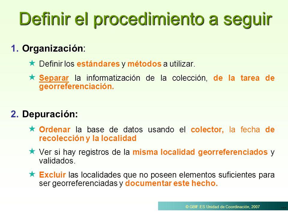 ... © GBIF.ES Unidad de Coordinación, 2007 Definir el procedimiento a seguir 1.Organización: nir los a utilizar. Definir los estándares y métodos a ut