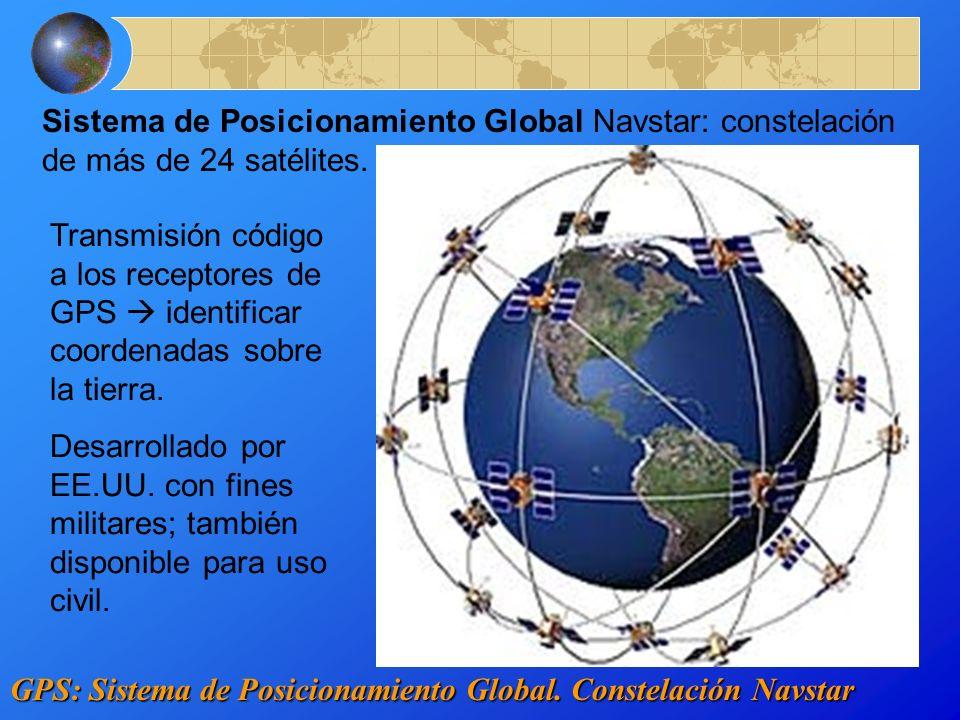 GPS: Sistema de Posicionamiento Global. Constelación Navstar Sistema de Posicionamiento Global Navstar: constelación de más de 24 satélites. Transmisi