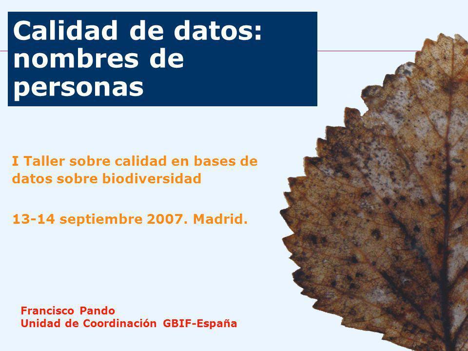 Calidad de datos: nombres de personas I Taller sobre calidad en bases de datos sobre biodiversidad 13-14 septiembre 2007.