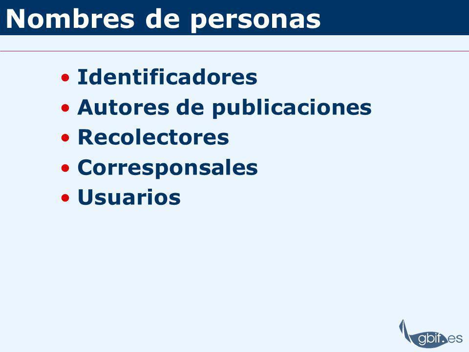 Nombres de personas Identificadores Autores de publicaciones Recolectores Corresponsales Usuarios