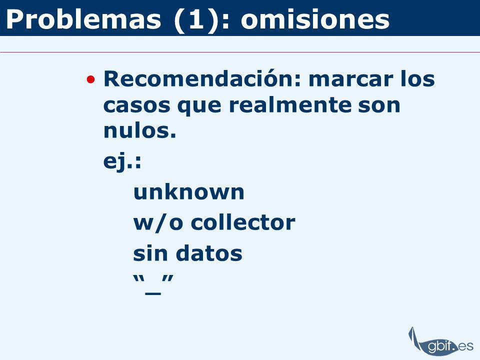Problemas (1): omisiones Recomendación: marcar los casos que realmente son nulos.