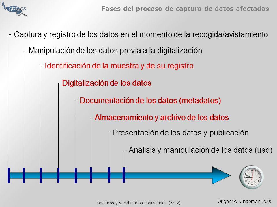 Tesauros y vocabularios controlados (6/22) Fases del proceso de captura de datos afectadas Captura y registro de los datos en el momento de la recogida/avistamiento Manipulación de los datos previa a la digitalización Identificación de la muestra y de su registro Digitalización de los datos Documentación de los datos (metadatos) Almacenamiento y archivo de los datos Presentación de los datos y publicación Analisis y manipulación de los datos (uso) Origen: A.