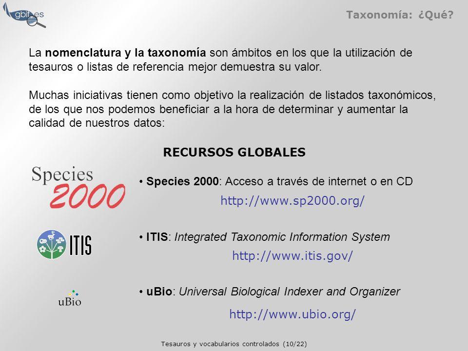 Tesauros y vocabularios controlados (10/22) Taxonomía: ¿Qué.