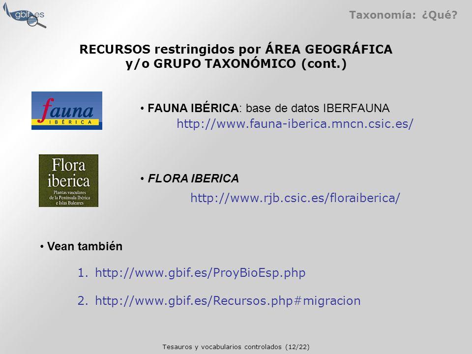 Tesauros y vocabularios controlados (12/22) Taxonomía: ¿Qué.