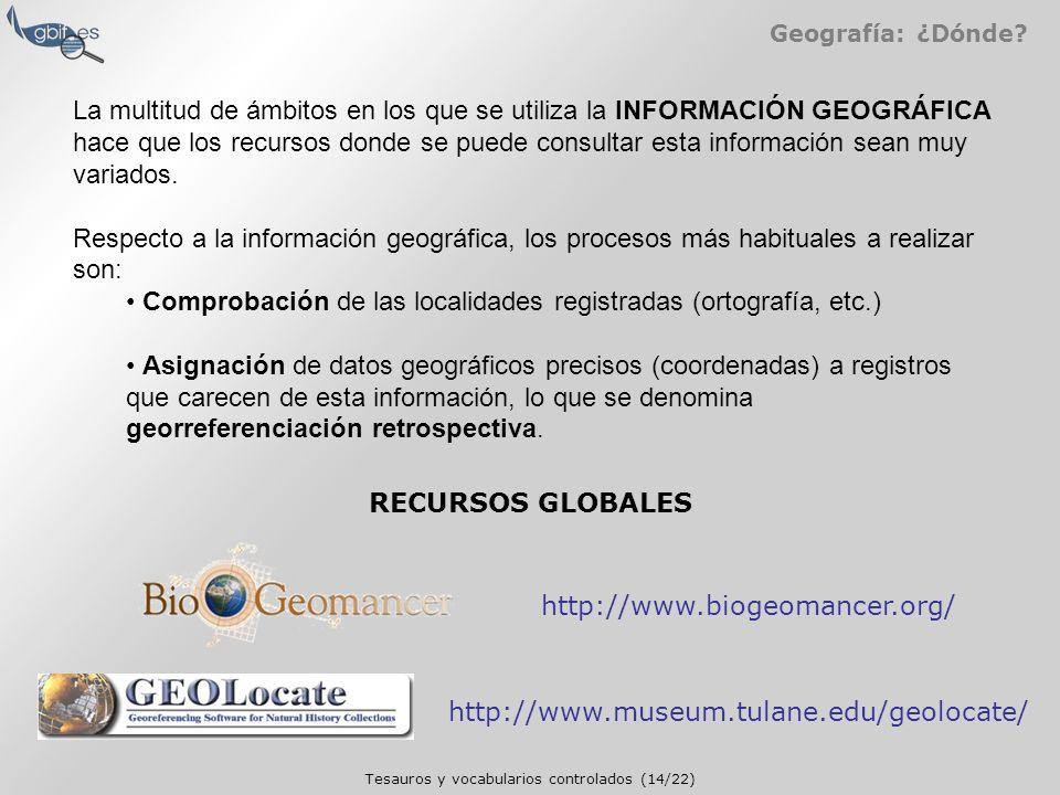 Tesauros y vocabularios controlados (14/22) Geografía: ¿Dónde.