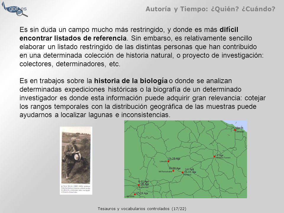 Tesauros y vocabularios controlados (17/22) Autoría y Tiempo: ¿Quién.
