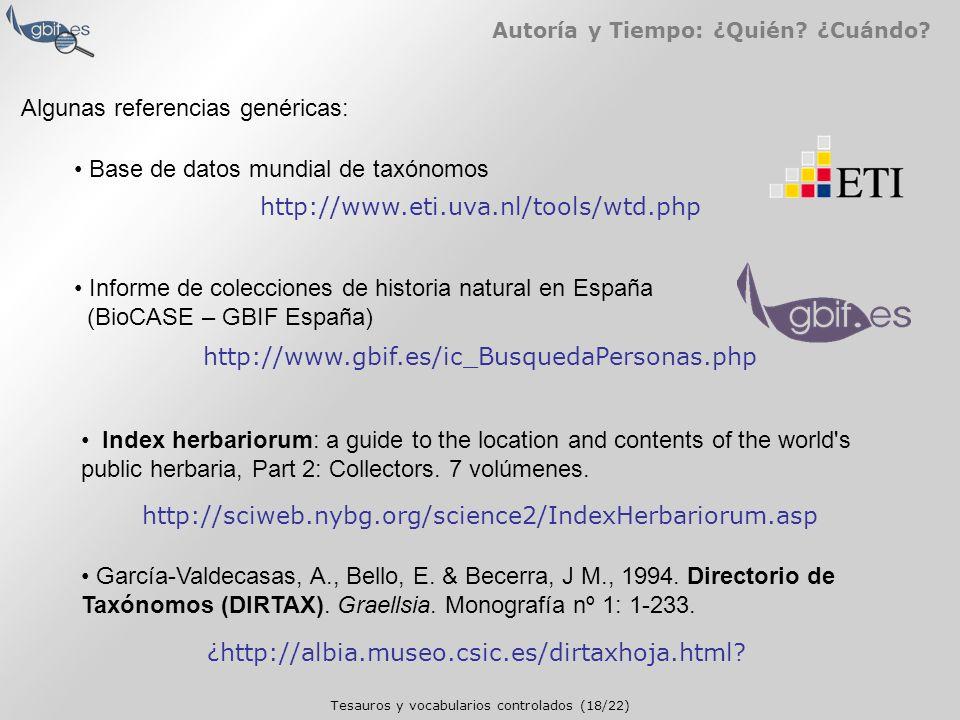 Tesauros y vocabularios controlados (18/22) Autoría y Tiempo: ¿Quién.
