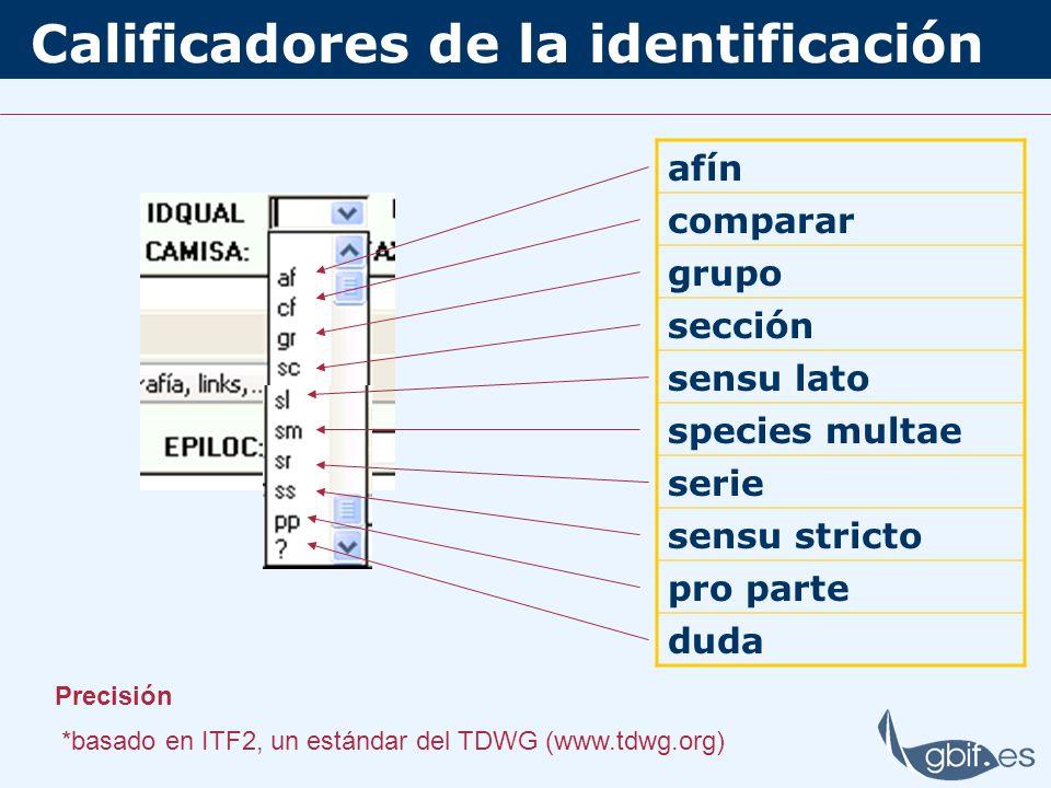 Calificadores de la identificación afín comparar grupo sección sensu lato species multae serie sensu stricto pro parte duda Precisión *basado en ITF2, un estándar del TDWG (www.tdwg.org)