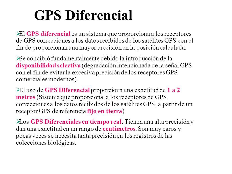 GPS Diferencial El GPS diferencial es un sistema que proporciona a los receptores de GPS correcciones a los datos recibidos de los satélites GPS con e
