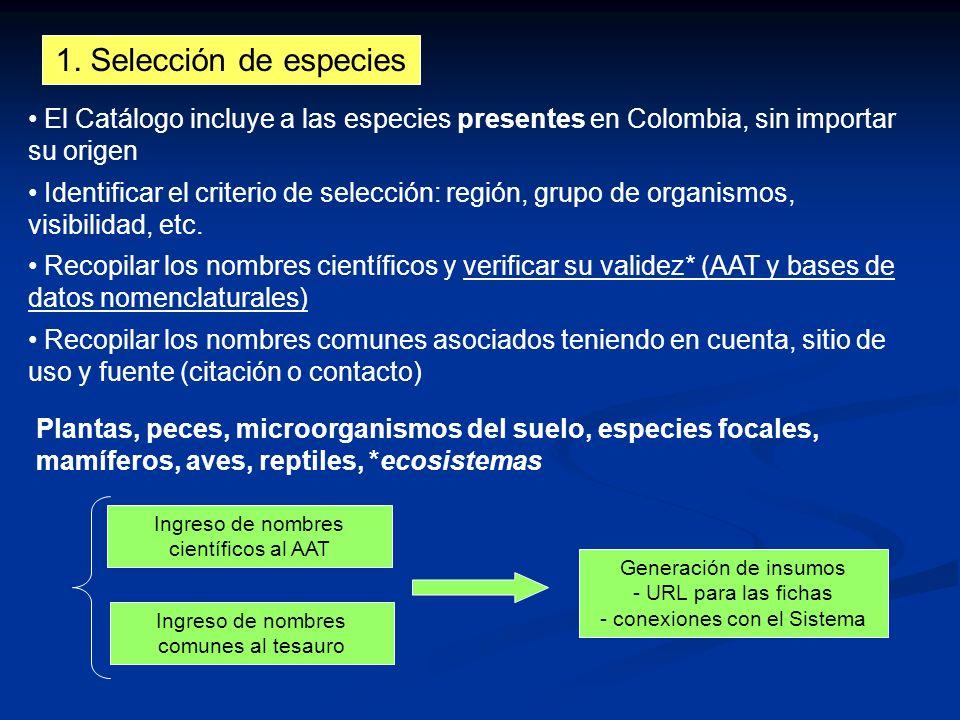 1. Selección de especies Identificar el criterio de selección: región, grupo de organismos, visibilidad, etc. Recopilar los nombres científicos y veri