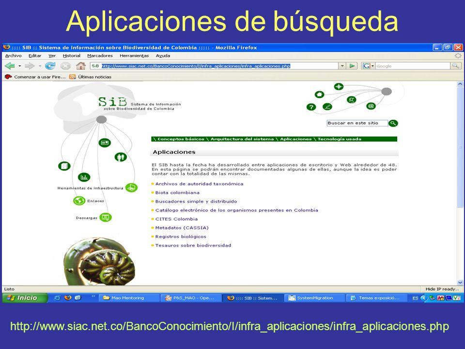 Aplicaciones de búsqueda http://www.siac.net.co/BancoConocimiento/I/infra_aplicaciones/infra_aplicaciones.php