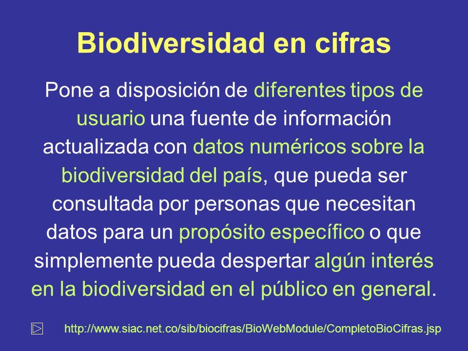 Biodiversidad en cifras Pone a disposición de diferentes tipos de usuario una fuente de información actualizada con datos numéricos sobre la biodiversidad del país, que pueda ser consultada por personas que necesitan datos para un propósito específico o que simplemente pueda despertar algún interés en la biodiversidad en el público en general.